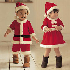 Lovely Baby Kids Christmas Carnival Costume Red Xmas Girl Dress Santa Boys Cloth