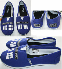 BBC DR WHO TARDIS POLICE CALL BOX CANVAS SLIP ON FLAT SHOES SLIPPERS LADIES S-L