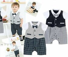 Baby Boys Kids Handsome Pageboy Bowtie Tuxedo Romper Bodysuits Suit Outfits