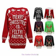 Ladies Womens Mens Knit Santa Reindeer Christmas Xmas Jumper Sweater Plus Sizes