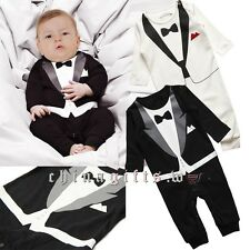 Baby Boy Wedding Christening Formal Tuxedo Bow Tie Suit 1PC Romper Outfit 1-4T