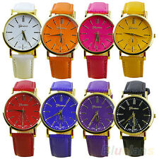 Men's Women's Geneva Roman Numerals Faux Leather Band Analog Quartz Wrist Watch