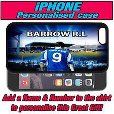 PERSONALISED BARROW RUGBY LEAGUE iPHONE 4 s 5 s 5c SILICONE BACK CASE