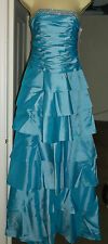 NEW MORGAN TURQUOISE DIAMONTE LAYERED SATIN PROM DRESS (long or short) Size 6, 8