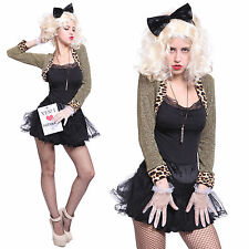 Womens 1980's 80s Madonna Fancy Dress Cosplay Costume Jacket Gloves Party Outfit