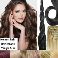 """ON SALE 13""""16""""18""""20""""22"""" Full head clip in on Real Remy human hair extensions Sd"""