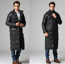 NEW Winter men's Full length Duck down jacket casual hooded parka overcoat S-3XL