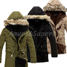 FASHION Mens Winter Warm Fleece Long Trench Coats Jacket Hooded Parka Overcoat