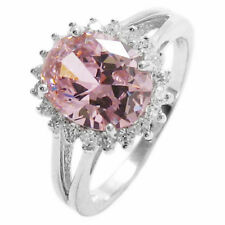 925 Sterling Silver 2.0 Carat Oval Cut Pink CZ with CZ Accents Ring Size 5-9