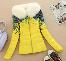 Winter HOT New Women's coats fur collar short down jacket printed cotton coat