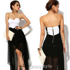 Sexy Women Off Shoulder Backless Hi-Lo Irregular Club Party Cocktail Tube Dress