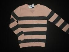 NWT Gap Kids 6-7 8 Rugby Striped Pink Gray Sweater New Small Medium