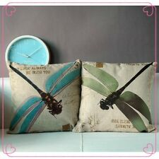 2014 New Cotton&Linen Throw Sofa Decorative Pretty Dragonfly Cushion Cover