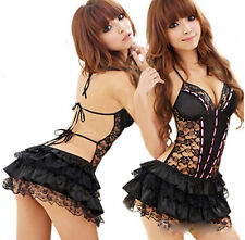 Sexy Princess G-string Babydoll Underwear Mini Dress Backless Lace Lingerie Set