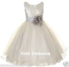 2014 Flower Girls Sequin Glitter Beaded Dress Christmas Pageant Graduation