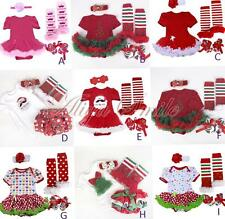 4PCS Set Baby Girls Christmas Romper Dress Outfits Clothes Party Costume 3-12M