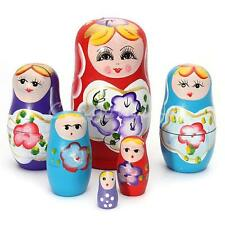 5pcs Wooden Russian Nesting Babushka Matryoshka 5 Dolls Set Hand Painted 12cm