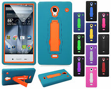 For Sharp Aquos Crystal IMPACT Hard Rubber Case Phone Cover Kickstand Accessory