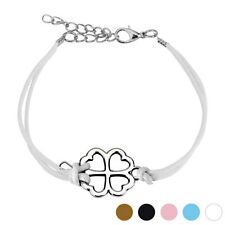 Adjustable Cast Iron Four Leaf Clover Leather Bracelet with Lobster Clasp