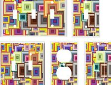 BRIGHT COLORFUL GEOMETRIC SQUARES IMAGE 1  LIGHT SWITCH COVER PLATE OR OUTLET