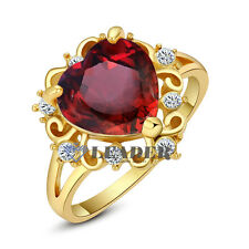 Swarovski Crystal Wedding Rings Charming 18K Rose GP Simulated Ruby Heart Rings