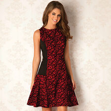 Womens Clubl Flocked Rose Panel Skater Dress In Red Black From Get The Label
