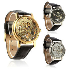 Mens Mechanical Skeleton Watch Hand Wind Up Leather Strap Wristwatch Cuddly