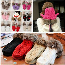 NEW Women Double-Deck Wool Hang Neck Winter Mittens Knitted Warm Fur Gloves