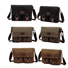Men Vintage Canvas School Satchel Casual Military Laptop Shoulder Messenger Bag