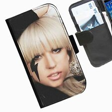 lady Gaga Leather wallet personalised phone case for Samsung Galaxy Note II III