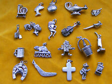 GG VARIOUS VINTAGE STERLING SILVER CHARM VIOLIN CAMERA MEXICAN IRON LAMP SWORD