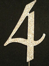 Large Rhinestone Number 4 Cake Topper Silver Gold Crystal Birthday Anniversary