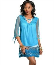 NEW BLUE LACE EMBROIDERED 3/4 SLEEVE MINI DRESS TUNIC TOP pick S M L
