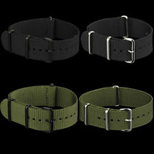 20mm /22mm Black /Green Canvas Nylon Band Strap For Army Watch