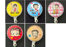 BETTY BOOP Retractable Reel ID Card Badge Holder/Key Chain/Security Ring