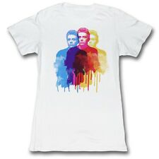 James Dean 50's Heartthrob Three Blue Red Yellow Images White Junior T-Shirt