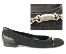 GUCCI SHOES HORSEBIT PRINT BLACK CANVAS FLATS LOGO SIGNATURE HARDWARE 35.5 5.5