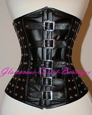 Leather Corset Steel Boned Waist Training Tight-Lacing Fetish DOM XS - 3XL