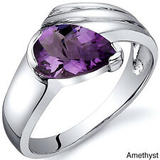 Oravo Sterling Silver Pear-cut Gemstone Rhodium Finished Ring
