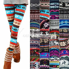 HOT Fashion Women Cashmere-like Acrylic Snow Deer Thin Leggings Elastic 28 Style