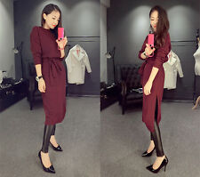 Korea Womens Bandge Side Slit  Long Sleeve Knitted Sweater Bodycon Party Dress