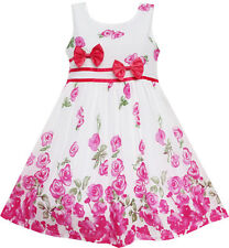 Girls Dress Rose Flower Double Bow Tie Party Birthday Summer Camp Size 4-12