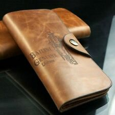 cool Men's Leather Long Wallet Pockets ID Card Clutch Cente Bifold Purse BROWN