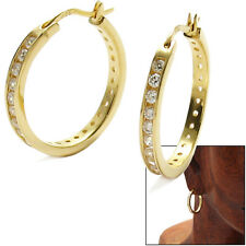 925 Sterling Silver Gold CZ Eternity Hoop Earrings (6 Available Sizes)