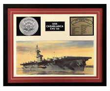 USS Casablanca CVE 55 Framed Navy Ship Display