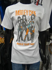 MOTLEY CRUE Official Uni-Sex Tee Shirt Various Sizes VINTAGE WORLD TOUR WHITE