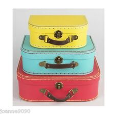 RETRO VINTAGE BRIGHT MINI LUGGAGE SUITCASE STORAGE CASES BOXES KIDS HOME GIFT