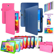 """PU Leather Folio Case Stand Cover For Samsung Galaxy Tab 4 7.0"""" /10.1"""" SM-T530"""