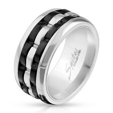 Stainless Steel Men's Two Tone Grooved Spinning Center Band Ring Size 9-13