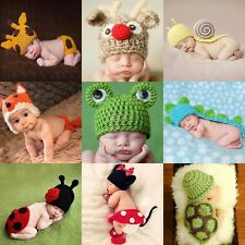 Newborn Infant Baby Knitted Crochet Photography Props Hat Cute Animal Costume